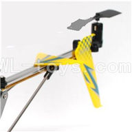 DFD F162 RC helicopter Parts-32 Whole tail unit-Yellow(Long tail pipe with horizontal and verticall wing & Tail cover with tail motor and tail blade & Support pipe)