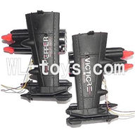 DFD F187 RC helicopter Parts-36 Whole side wing unit-Black(2x Side wing & 4x Fixtures & Bullets + Bomber set (Left + Right))