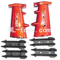 DFD F187 RC helicopter Parts-39 2x Side wings-Red & 4x Fixtures