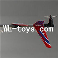 DFD F187 RC helicopter Parts-41 Whole tail unit-Red(Long tail pipe with horizontal and verticall wing & Tail cover with tail motor and tail blade & Support pipe))
