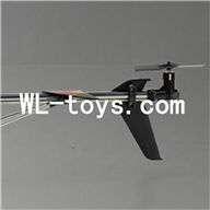 DFD F187 RC helicopter Parts-42 Whole tail unit-Black(Long tail pipe with horizontal and verticall wing & Tail cover with tail motor and tail blade & Support pipe)