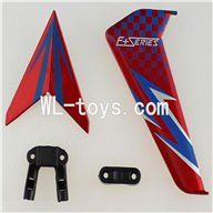 DFD F187 RC helicopter Parts-44 Horizontal and verticall wing with fixtures-Red