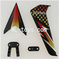DFD F187 RC helicopter Parts-45 Horizontal and verticall wing with fixtures-Black