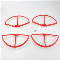 SH CX-20 RC Quadcopter SanLianHuan CX-20 Parts-19 Upgrade Fan-Shape Protection frame(4pcs)-Red & Protect line & 10x Screws