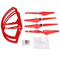 SH CX-20 RC Quadcopter SanLianHuan CX-20 Parts-23 Upgrade Fan-Shape Protection frame(4pcs)-Red & Protect line & 10x Screws & 4X Red Blades