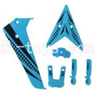 Skytech M5 M5A RC Helicopter Parts-11 Vertical and herizontal wing with fixtures-Blue