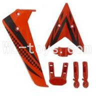 Skytech M5 M5A RC Helicopter Parts-12 Vertical and herizontal wing with fixtures-Red