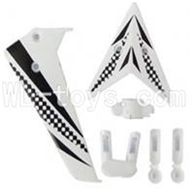 Skytech M5 M5A RC Helicopter Parts-13 Vertical and herizontal wing with fixtures-White