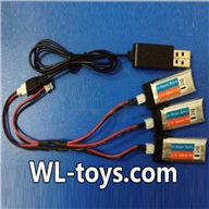 NiHui H377 RC Helicopter Parts-31 USB charger & Upgrade 1-to-3 socket convert wire-(Not include the 3x battery)