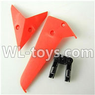 Foda F307 F307C F307H F307L RC helicopter parts-14 Horizontal wing & Vertical wing & Horizontal fixture-(Red)