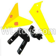 Foda F307 F307C F307H F307L RC helicopter parts-16 Horizontal wing & Vertical wing & 2pcs fixtures-(Yellow)