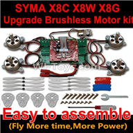 Upgrade Brushless motor kit for SYMA X8 X8C X8W X8G Quadcopter Drone,SYMA X8C X8G X8W Brushless motor,ESC,Propellers