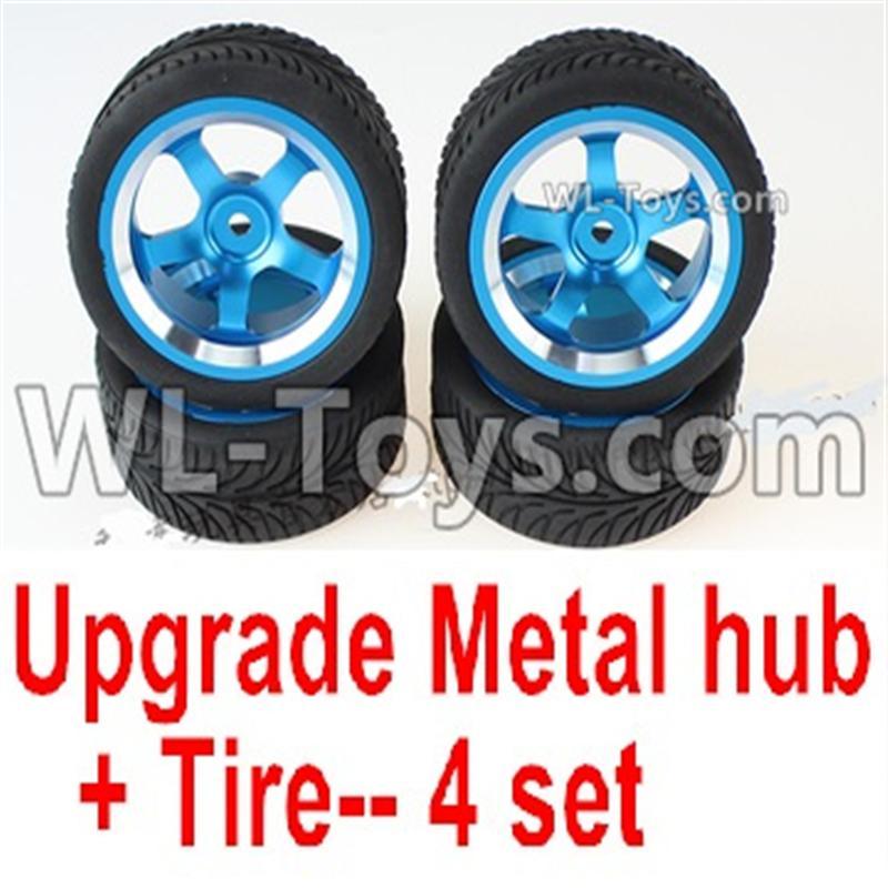 Wltoys 144001 Upgrade Metal wheel hub+ Tire-4 set