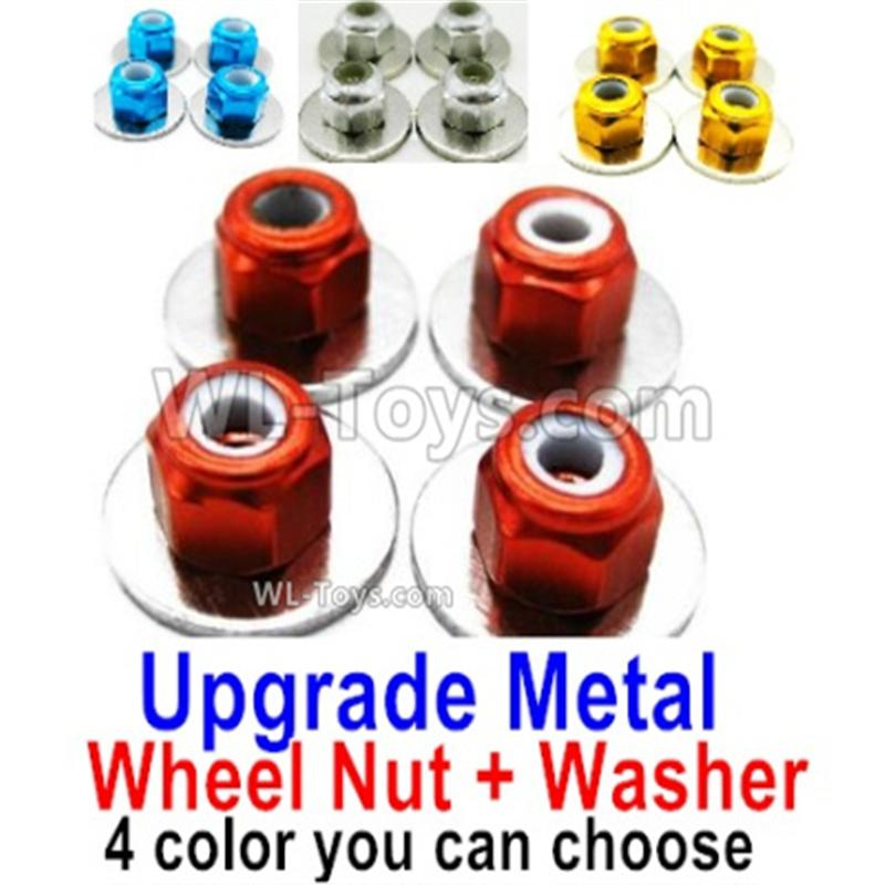 Wltoys 144001 Upgrade Metal Nut for the Wheel + Washer-4 set