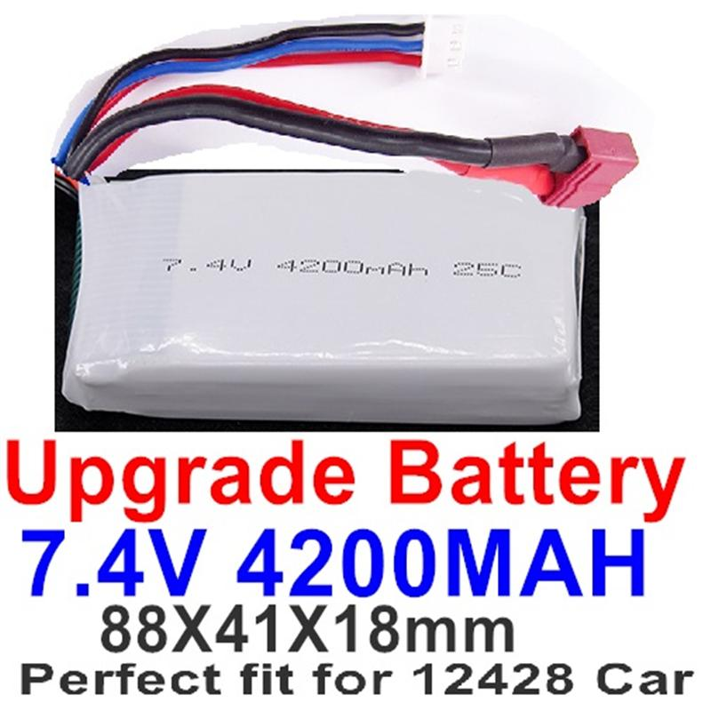 Wltoys 12428 Upgrade 4200mah Battery-Upgrade 7.4V 4200mah 25C Battery(1pcs)-Size:88X41X18MM Parts,Perfect fit for the WLtoys 12428 Car